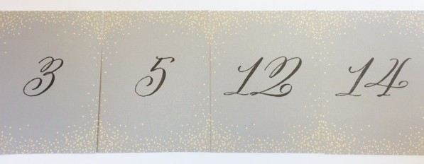Silver and Gold Wedding Table Place Cards printed with calligraphy