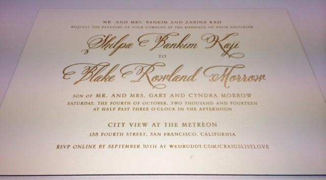 gold foil stamped wedding invitations