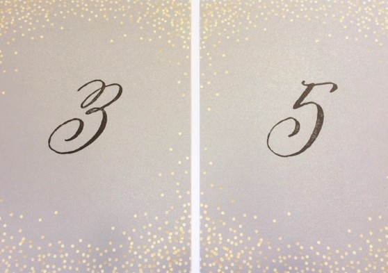 custom calligraphy for table number cards