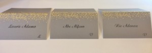 Silver and gold wedding place cards printed with calligraphy