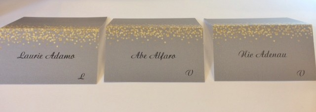 silver and gold wedding place cards printed with calligraphy - Printed Wedding Place Cards