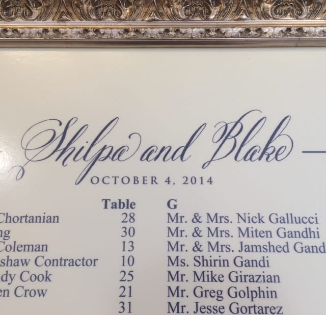 gold framed wedding seating chart for san francisco wedding