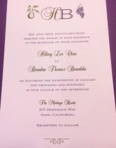Napa Style Wedding Invitation