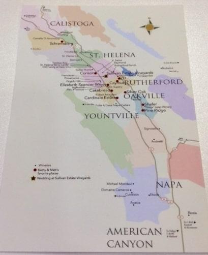 wedding map for Napa Wedding