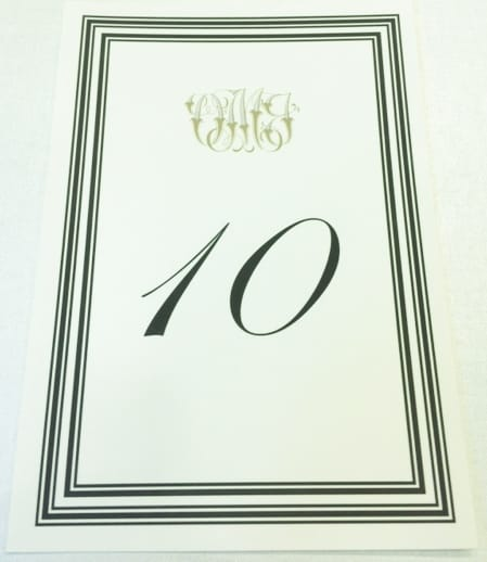 Calligraphy printed wedding table number card
