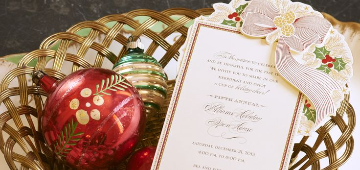 die cut pine cone and holly invitation