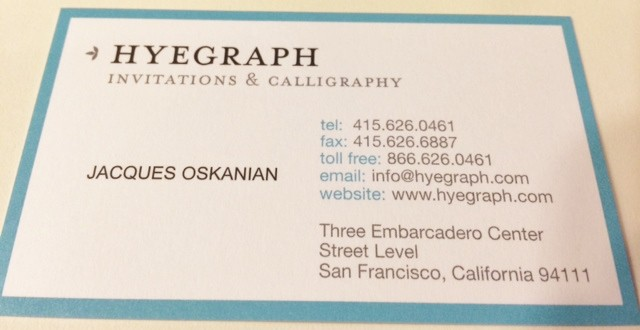 Business card for Hyegraph Invitations & Calligraphy