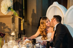 Melissa & Sevan Couple Kiss at Reception at Bently Reserve Wedding Stationery www.hyegraph.com