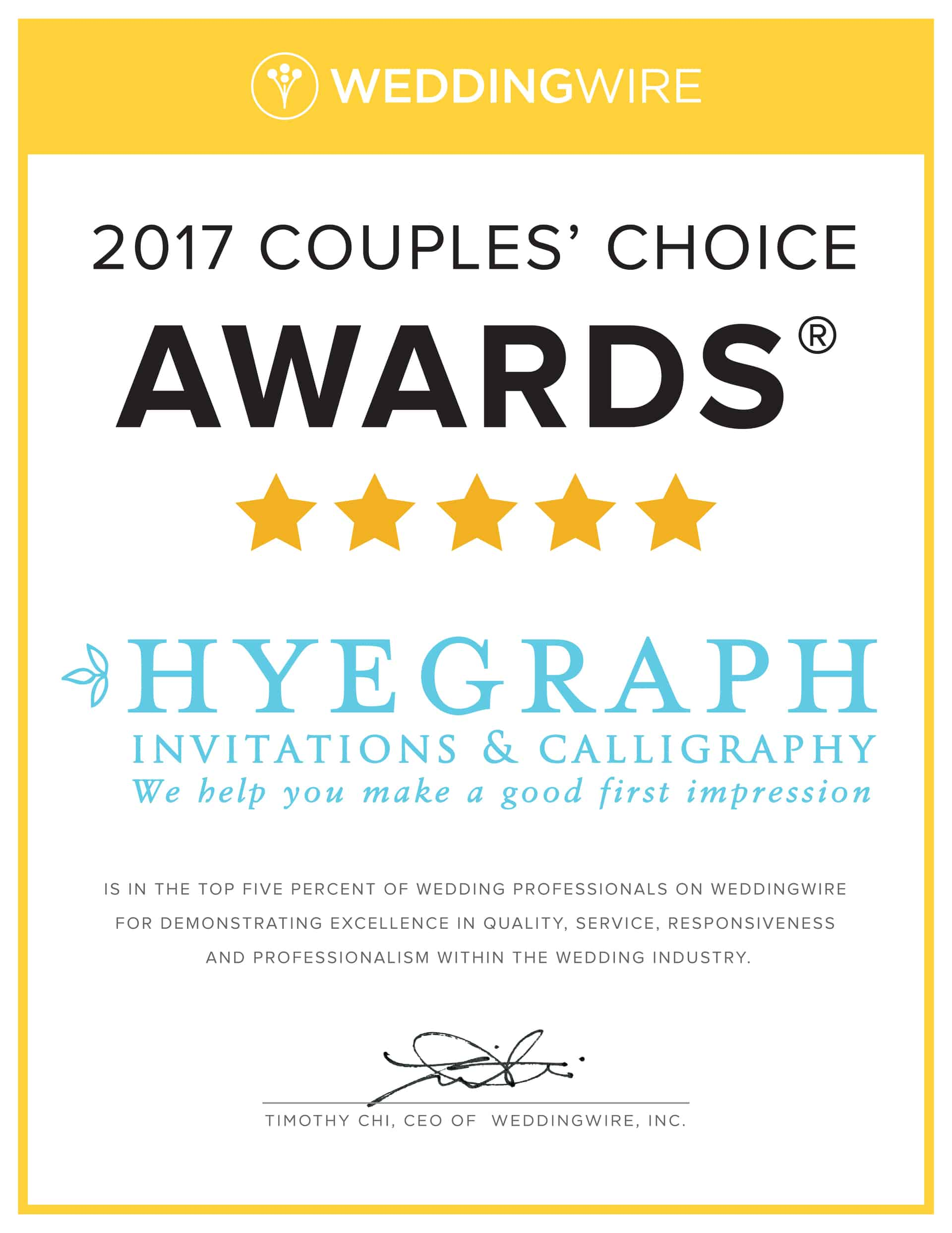 Hyegraph Invitations & Calligraphy has Won Wedding Wire\'s Bride\'s ...