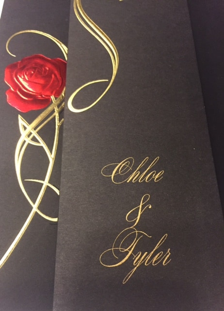 Rose wedding invitation card from Disney
