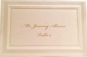 gold ink calligraphy place cards