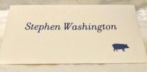 William Arthur place card calligraphy