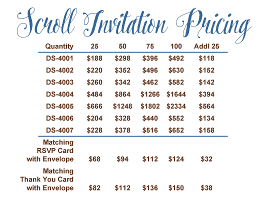 Charu Scroll Invitations Pricing
