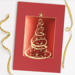 Carlson Craft Holiday Card - Red Christmas Tree