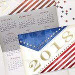 Carlson Craft Holiday Card - Red White & Blue Calendar