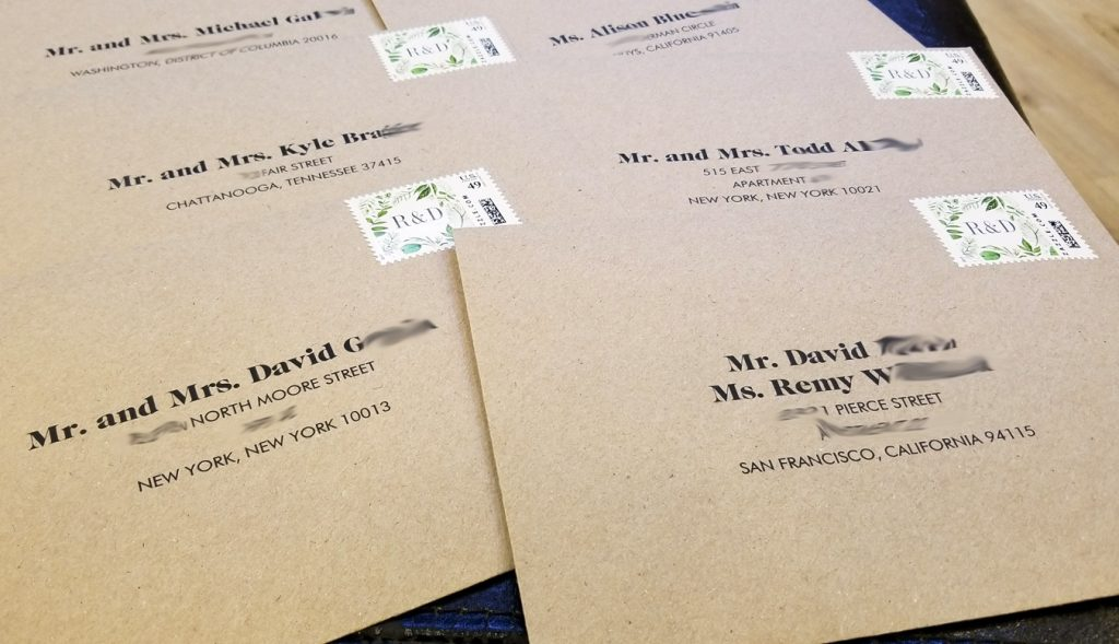 Kraft Envelopes with Digital Calligraphy Envelope Addressing