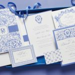 William Arthur Blue Watercolor Talavera Pattern Wedding Invitation