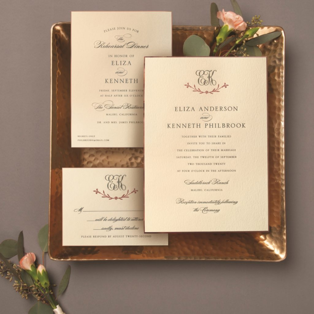 William Arthur Rose Gold Wedding Invitation