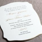 William Arthur Gold Beveled Die Cut Wedding Invitation
