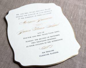 William Arthur Gold Beveled Die Cut Wedding Invitation