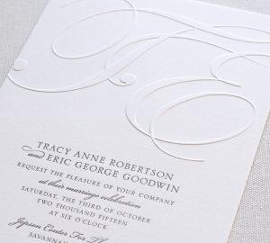 William Arthur Blind Embossed Monogram Wedding Invitation