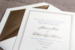 William Arthur Gold Ornate Border Wedding Invitation
