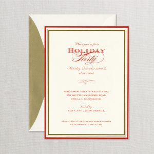 William Arthur Red and Gold Border Holday Invitation