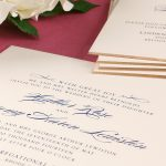 William Arthur Navy and Gold Beveled Edge Wedding Invitation