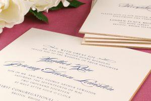William Arthur Navy and Gold Beveled Edge Wedding Invitation
