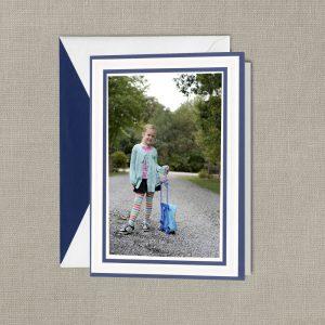 William Arthur Blue Double Bordered Photo Holiday Card