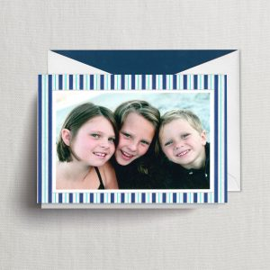 William Arthur Blue Vertical Striped Photo Holiday Card