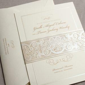 William Arthur Laser Cut Belly Band Wedding Invitation