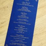 Gold on Navy Wedding Menu