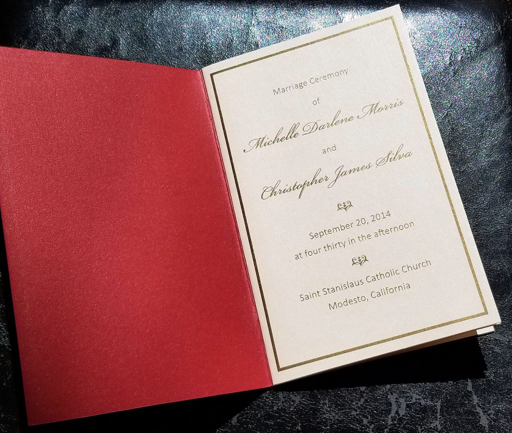 Programs - Weddings & Events - Hyegraph Invitations & Calligraphy