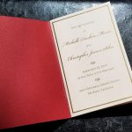 Red and Blush with Gold Screen Print Wedding Program Booklet