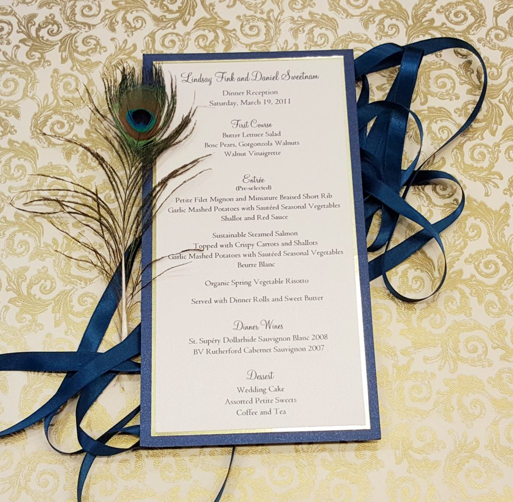 Menus - Weddings & More - Hyegraph Invitations & Calligraphy