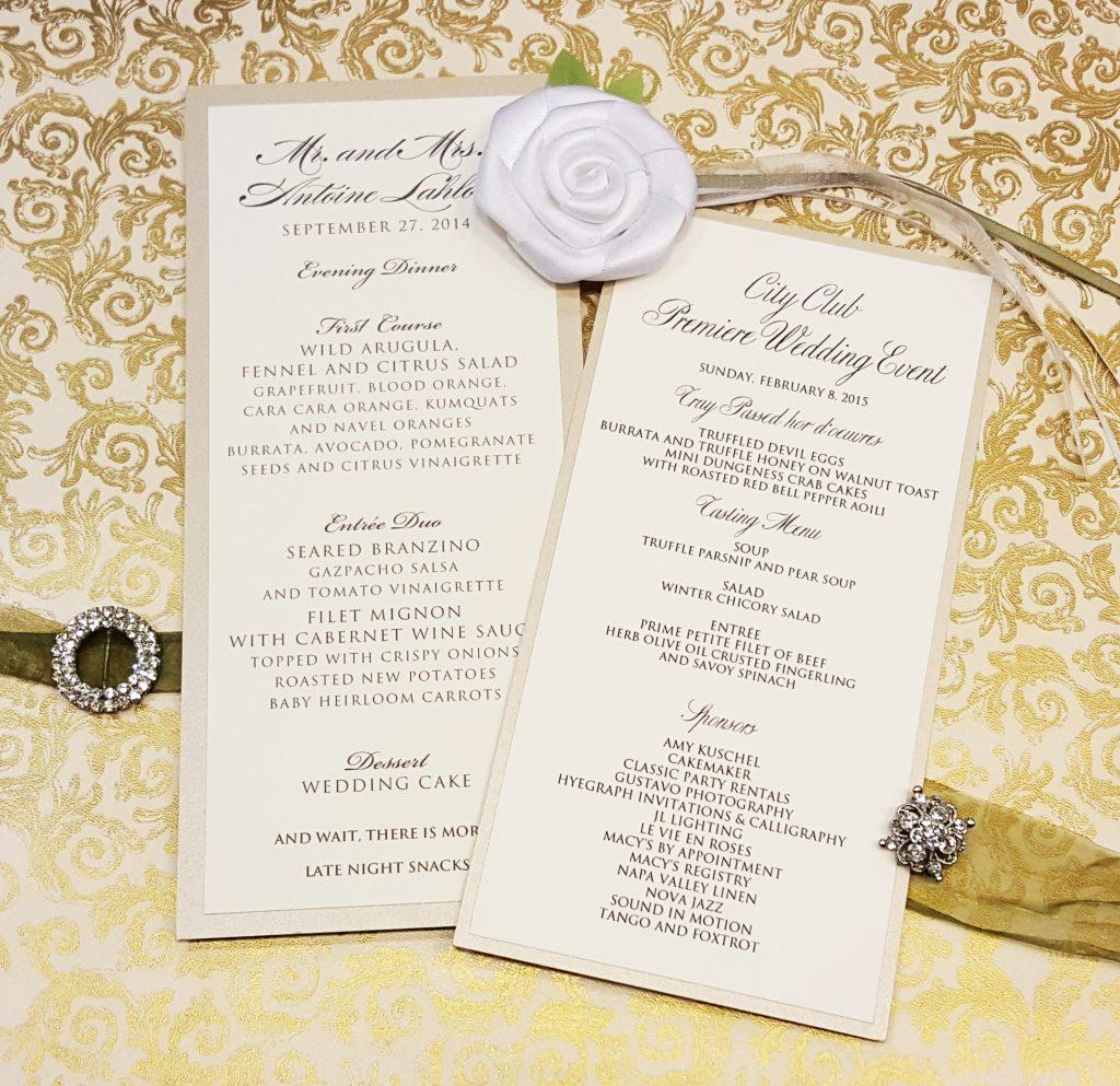 Menus - Weddings & More - Hyegraph Invitations & Calligraphy
