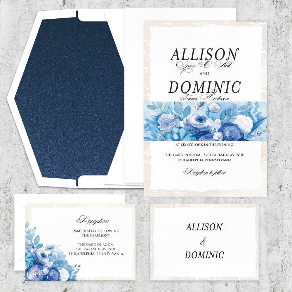 Regina Craft Blue Watercolor Wedding Invitation