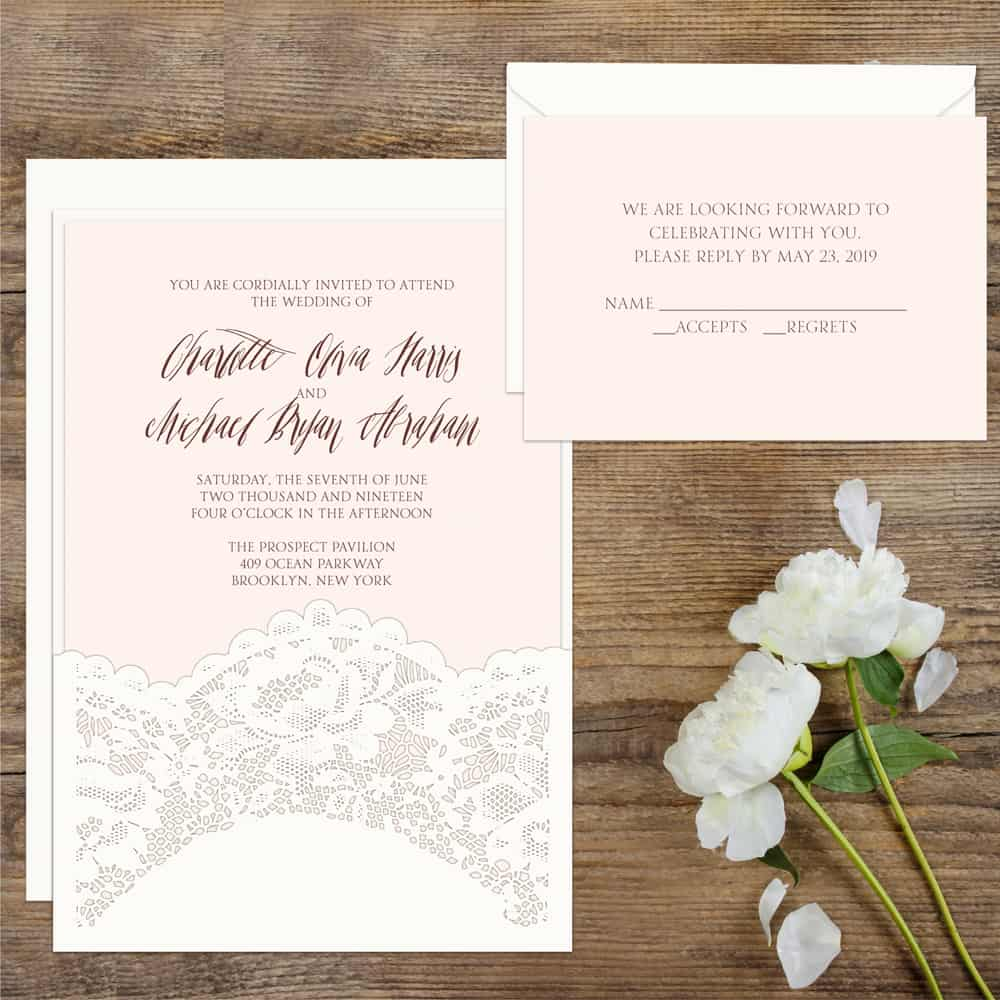 Regina Craft Chantilly Lace Wedding Invitation