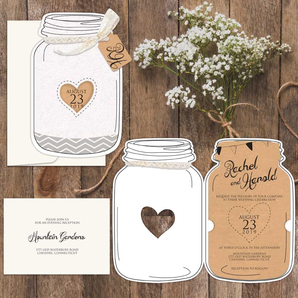 Regina Craft Charming Rustic Jar Wedding Invitation