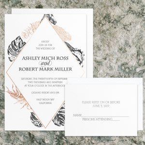 Regina Craft Copper Leaves Wedding Invitation
