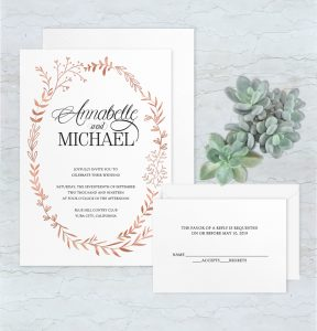 Regina Craft Copper Foil Nature Wedding Invitation