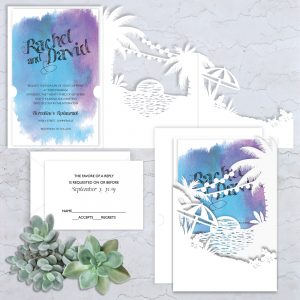 Regina Craft Exotic Dream Watercolor Wedding Invitation