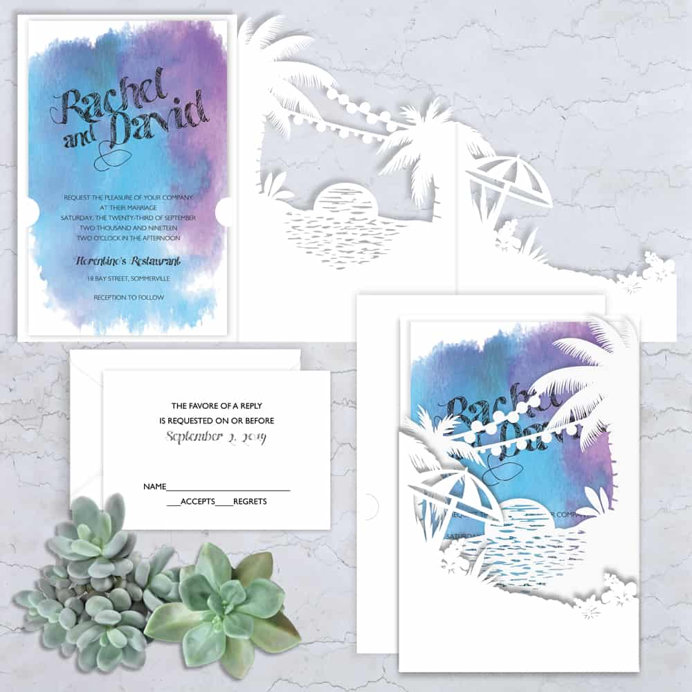 Regina Craft Exotic Dream Watercolor Wedding Invitation