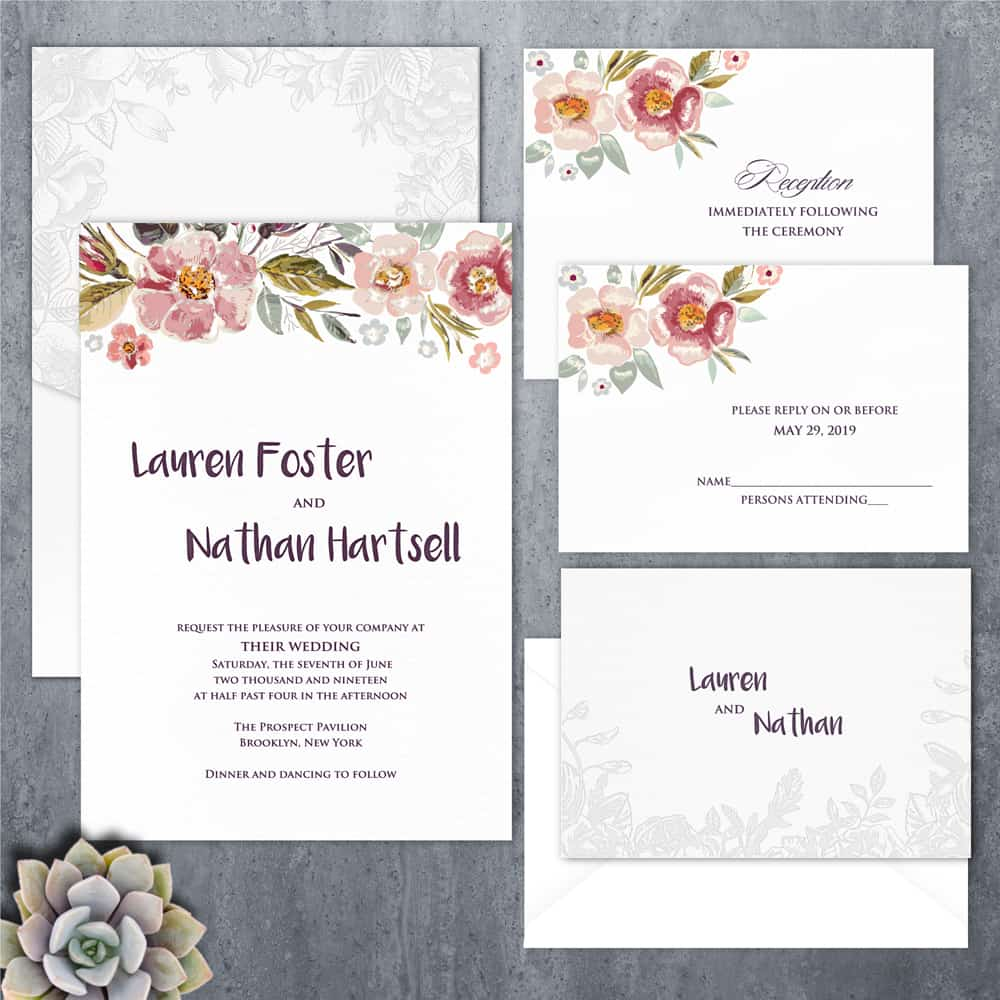 Regina Craft Faded Blooms Floral Wedding Invitation