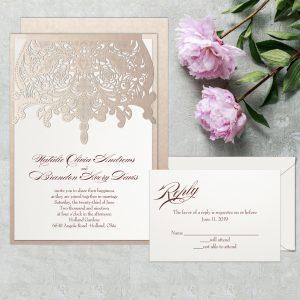 Regina Craft Fancy Embroidery Laser Cut Wedding Invitation