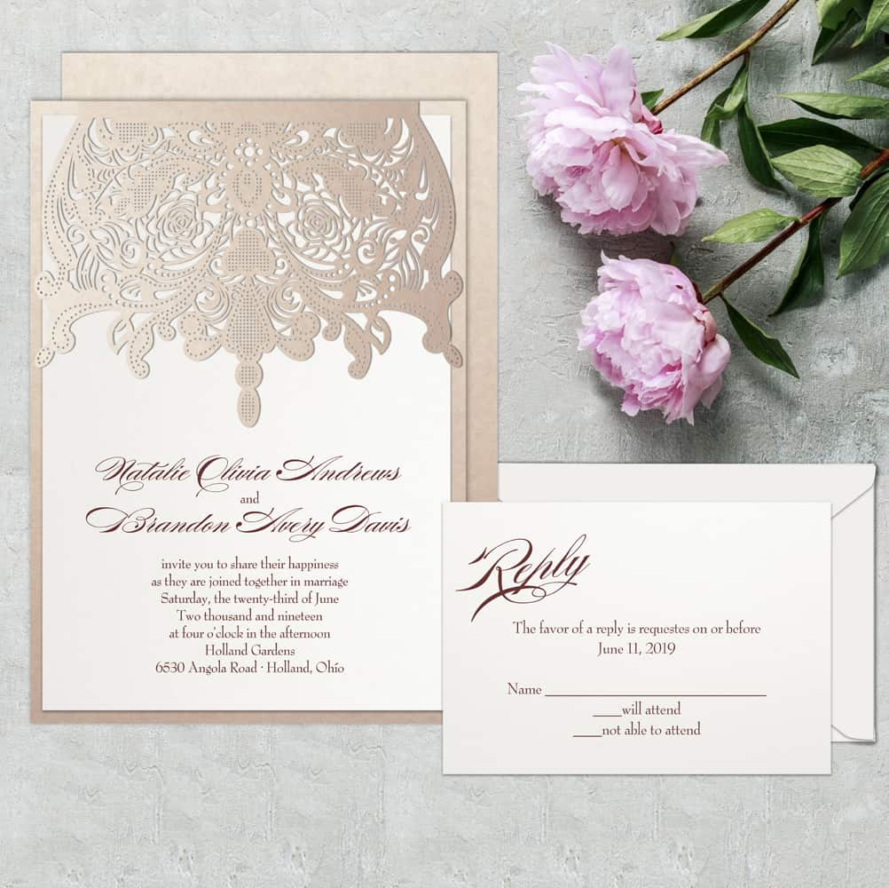 Regina Craft Fancy Embroidery Laser Cut Wedding Invitation