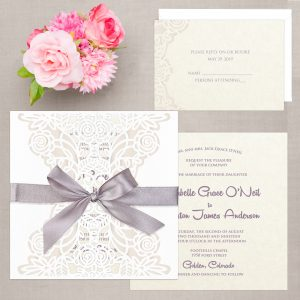 Regina Craft Floral Lace Laser Cut Wedding Invitation
