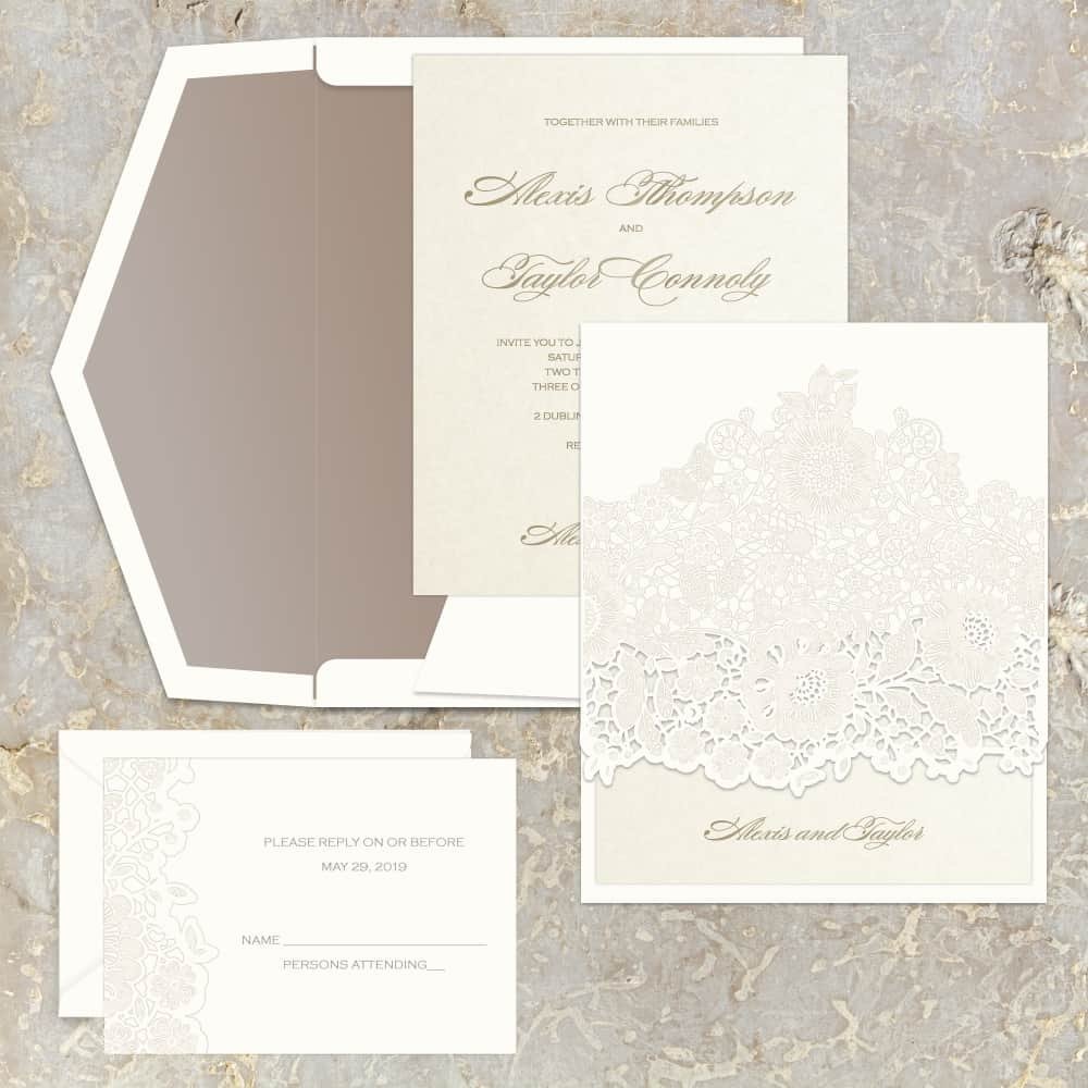 Regina Craft Florentine Lace Laser Cut Wedding Invitation