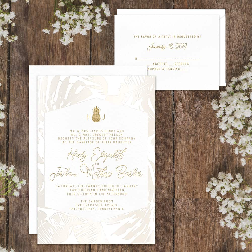 Regina Craft Forever Hawaii Pineapple Wedding Invitation